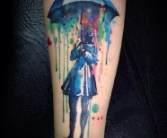 Colorful lovely watercolor tattoo's