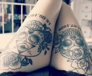 Flowers tattoos on leg