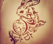 Rabbits tattoos on bodies