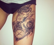 Roses tattoos on legs