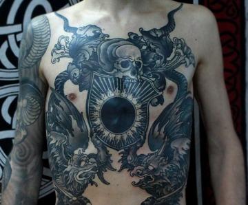 Black cruel skull tattoos