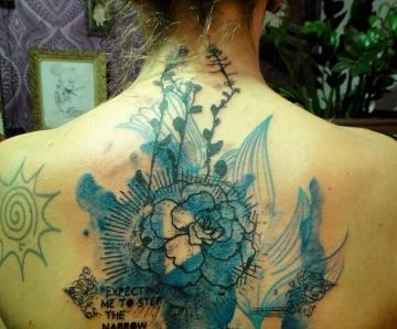 Blue back tattoos