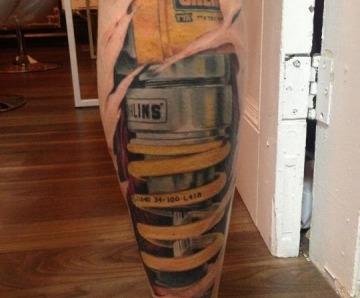 Cars tattoos on legs