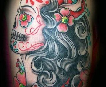 Colorful skull tattoo