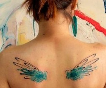 Colorful watercolor style tattoos