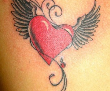 Red and black hearts tattoos