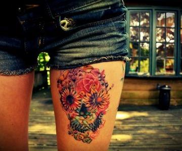 Skull tattoos on legs