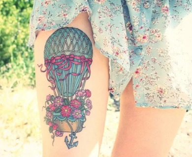 56 Romantic Hot Air Balloon Tattoos