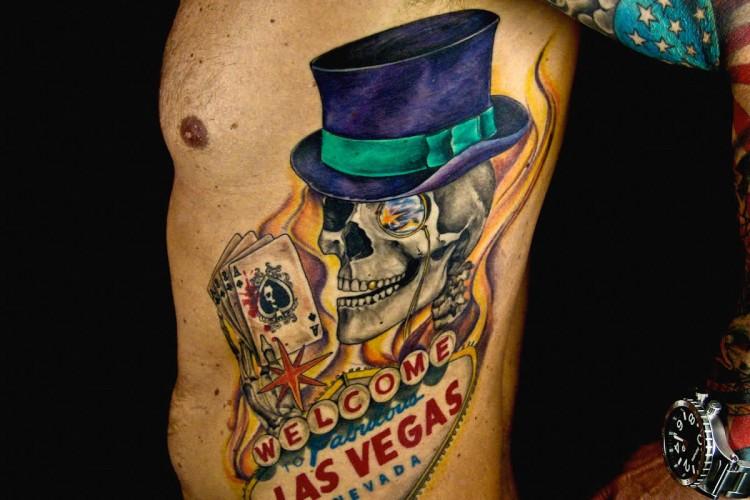 Las vegas skull color tattoo 1 750x500 tattoomagz for Tattoo in las vegas