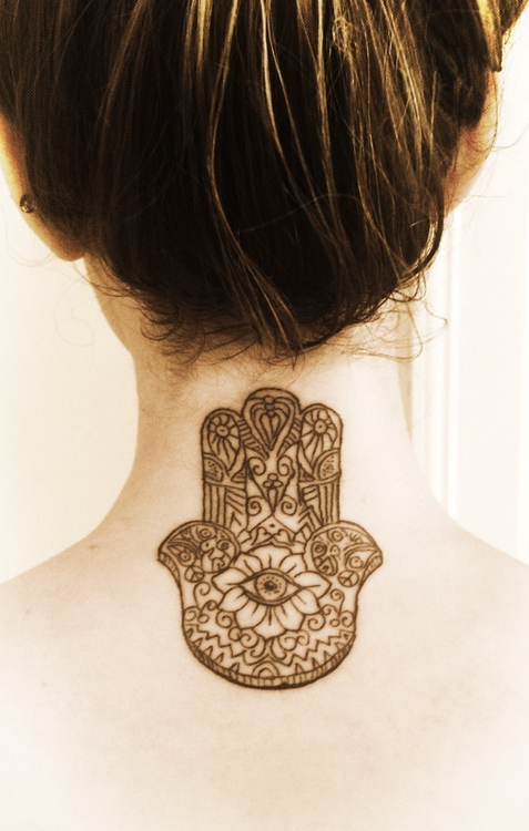 Rose Back Of Neck Tattoo