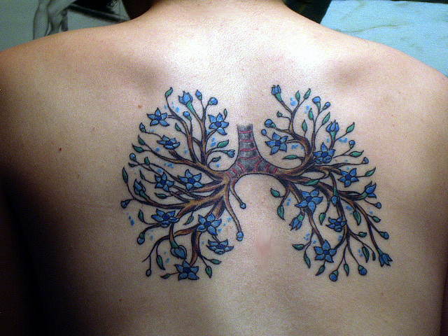 anatomical tattoo flowers decorated lungs - TattooMagz