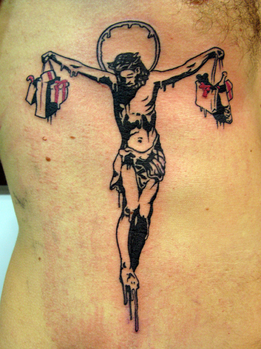 banksy graffiti jesus crucifiction tattoomagz