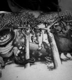 black and white photo where the wild things are back tattoo