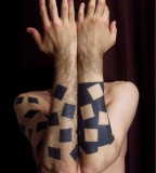 geometric abstract tattoo black and white cubes