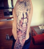 geometric abstract tattoo optical illusion sleeve
