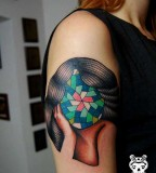 geometric abstract tattoo woman without face