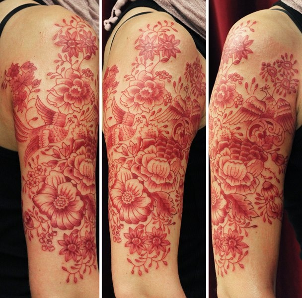 Red ink tattoo flower sleeve tattoomagz for Red ink tattoos