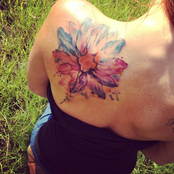 watercolor tattoo design flower