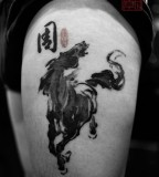 watercolor tattoo design horse
