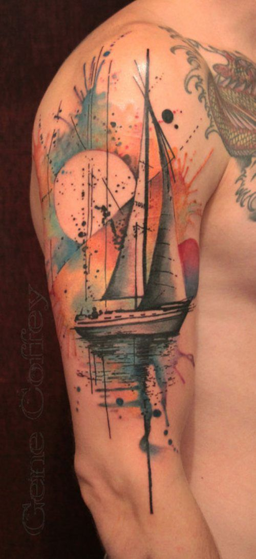 Watercolor tattoo design sailboat tattoomagz for What is a watercolor tattoo