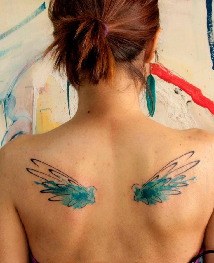 watercolor tattoo design small wings tattoomagz. Black Bedroom Furniture Sets. Home Design Ideas