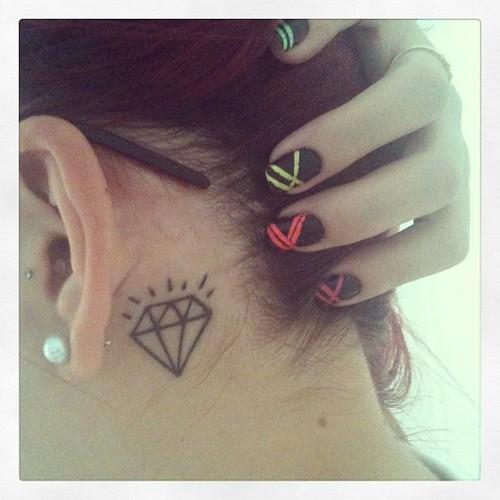 37 Ear Tattoos See Which Made Our 1: Behind Ear Tattoo Diamond