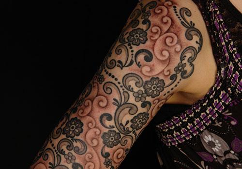 Mehndi Lace Tattoo : Lace tattoo full sleeve tattoomagz