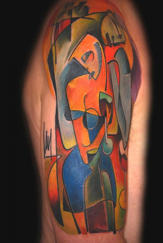 Lady drinking wine tattoo by bugs tattoomagz for Picasso tattoo artist