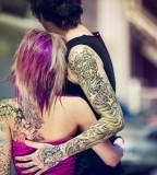 tattooed couple girl in pink