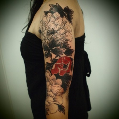 Flowers Tattoo Black Arm Tattoo Tattooed Tattoos: Arm Sleeve Tattoo Red Flower By Guy Le Tattooer