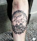 Nice nature view tattoo by Philippe Fernandez
