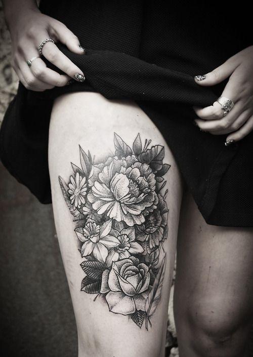 Alex Tabuns Floral Thigh Tattoo border=