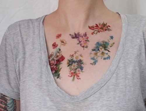 Floral Bouquets Chest Tattoo Tattoomagz