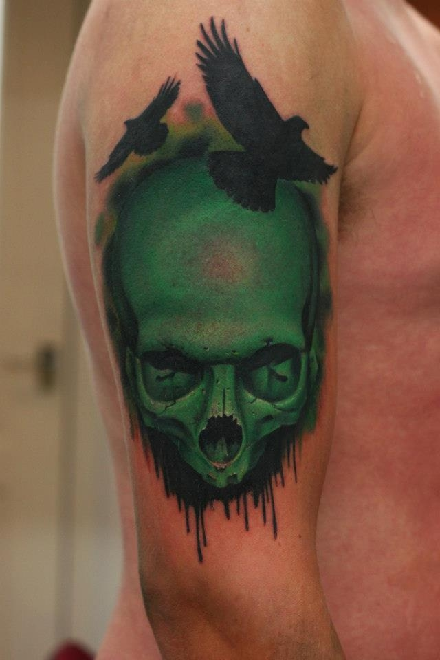 green tattoo skull and. Black Bedroom Furniture Sets. Home Design Ideas