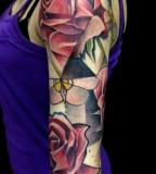 marie kraus tattoo floral arm sleeve