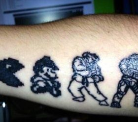 Black and white games tattoo
