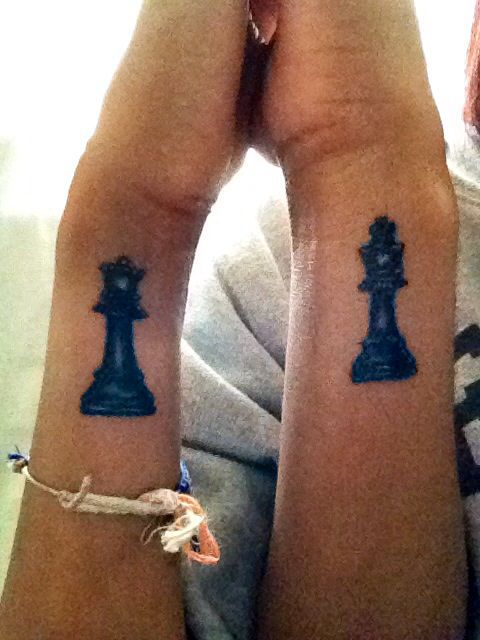 King And Queen Chess Piece Tattoo Couple chess tattoo