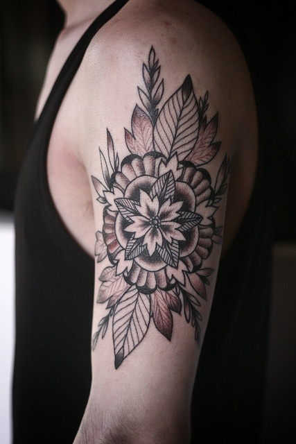 geometric flower tattoo color - photo #26