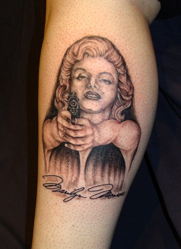 Gangsta Drawings With Guns Marilyn-Monroe-and-gun...