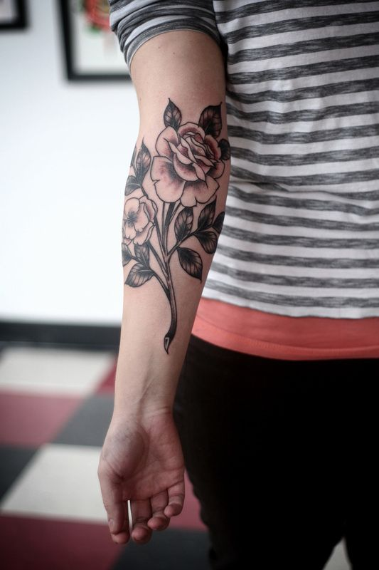 alice carrier rose tattoo on inside arm. Black Bedroom Furniture Sets. Home Design Ideas