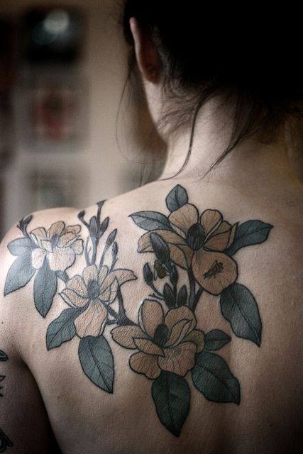 Alice Carrier Tattoo Red And Blue Flowers On Inside Arms Tattoomagz