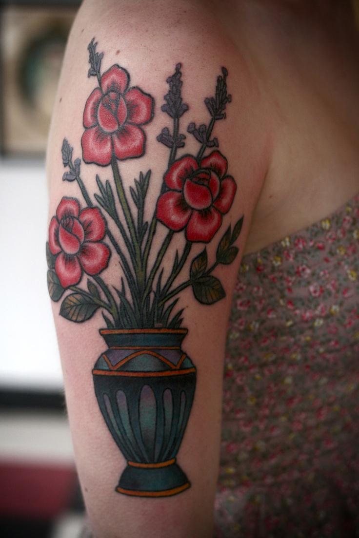 Alice Carrier Tattoo Vase Of Flowers On Arm Jpg