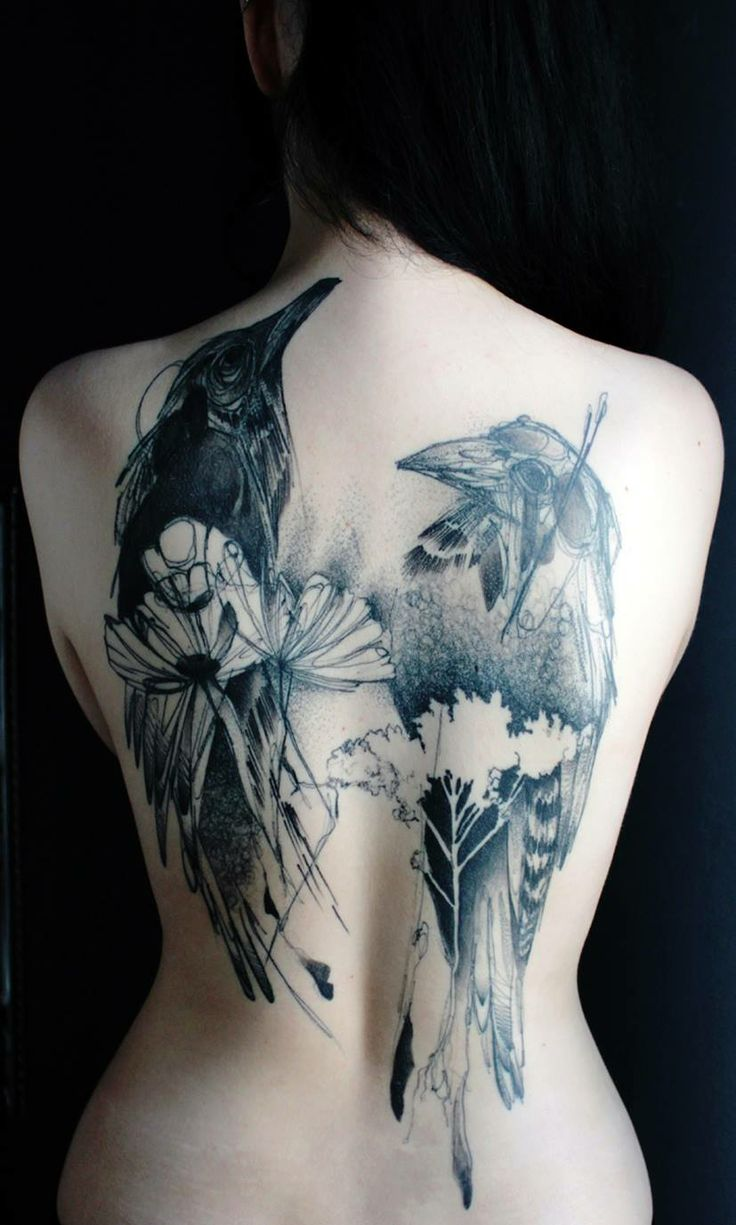 Back tattoo design for women by marta lipinski birds for Hot female back tattoos