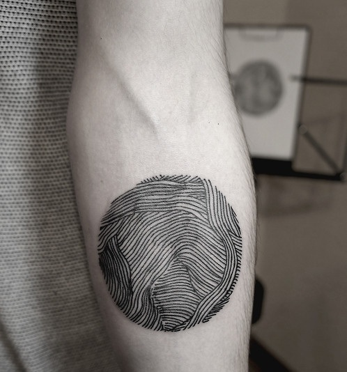 Black Ink Clew Line Work Tattoo