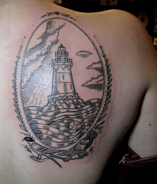 duke riley tattoo framed ligthouse - TattooMagz