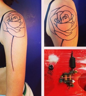 seb inkme black rose line work tattoo