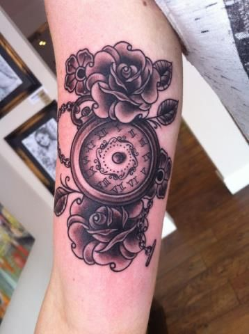 Lovely roses and clock tattoo tattoomagz for Clock tattoos for men
