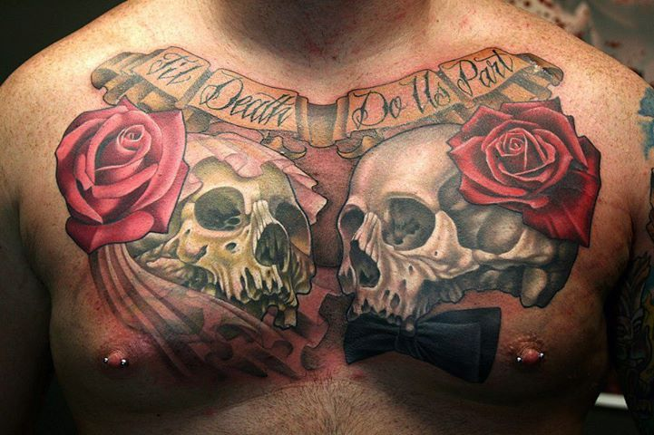 Skull And Roses Chest Tattoo