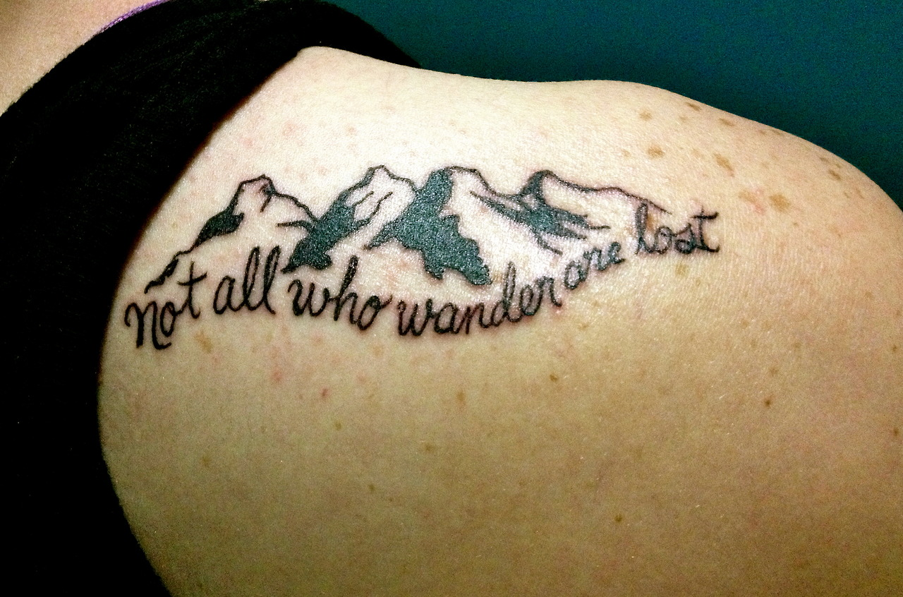 Tattoo quote not all who wonder are lost tattoomagz for Tattoos for lost loved ones quotes