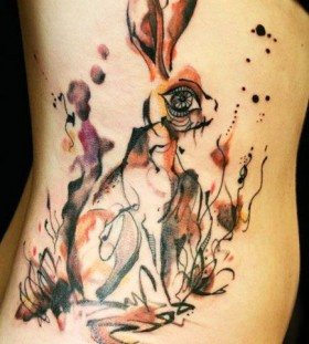 bright color animal tattoos artistic rabbit